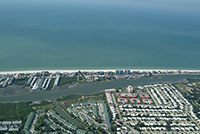 Aerial pictures of Indian Shores overlooking the gulf of Mexico.  Facing west over the intracoastal waterway and bay.  All waterfront real estate currently for sale on the mls